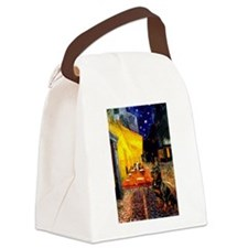 Cafe with Rottie Canvas Lunch Bag