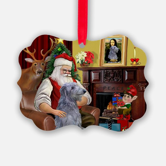 Santa's Deerhound Ornament
