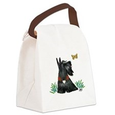 Scottish Terrier and Butterfly Canvas Lunch Bag