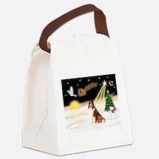 Night Flight/Sheltie #7 Canvas Lunch Bag