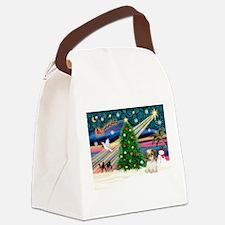 XmasMagic/Shih Tzu pup Canvas Lunch Bag