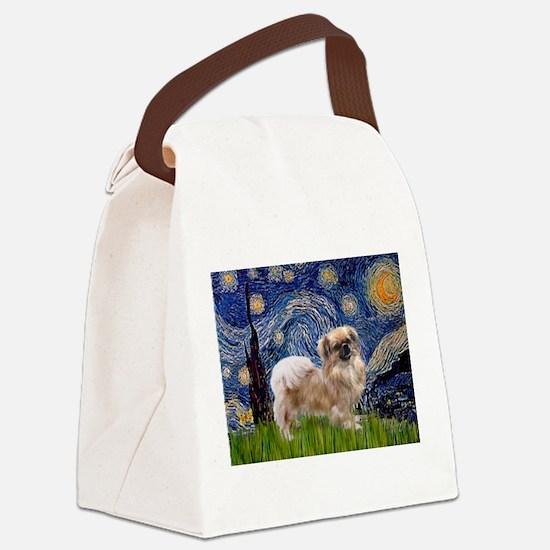 Starry Night Tibetan Spaniel Canvas Lunch Bag