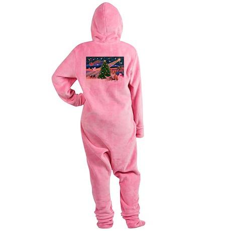 Xmas Magic & 2 Corgis (P3) Footed Pajamas