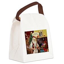 Santa's Yellow Lab (TH) Canvas Lunch Bag