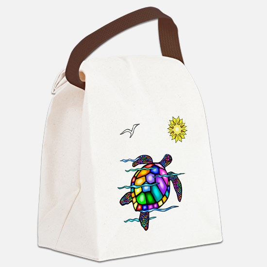 Sea Turtle 1 - with waves.png Canvas Lunch Bag