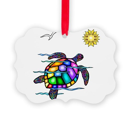 Sea Turtle 1 - with waves.png Picture Ornament