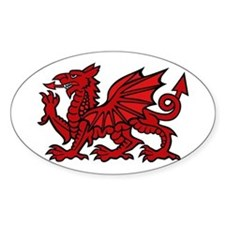 Red Welsh Dragon Oval Decal
