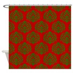 Red and Green Ornamental Design Shower Curtain