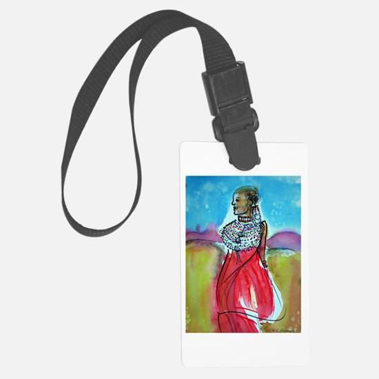 Africian tribal woman, art! Luggage Tag