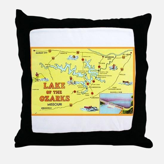 Lake of the Ozarks Map Throw Pillow