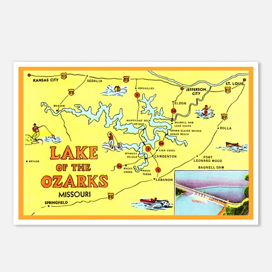 Lake of the Ozarks Map Postcards (Package of 8)