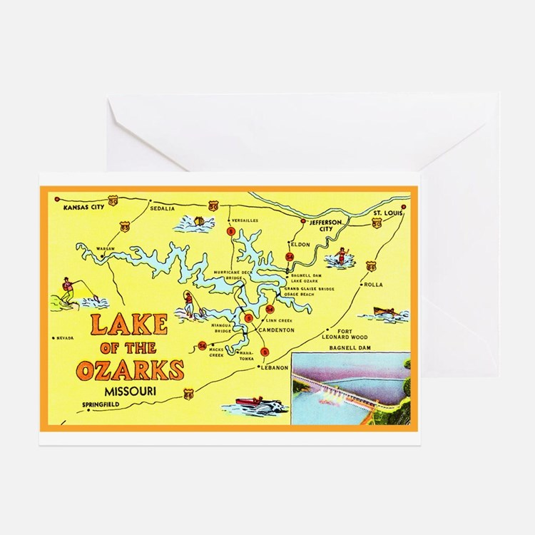 Lake of the Ozarks Map Greeting Card