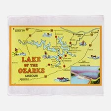 Lake of the Ozarks Map Throw Blanket