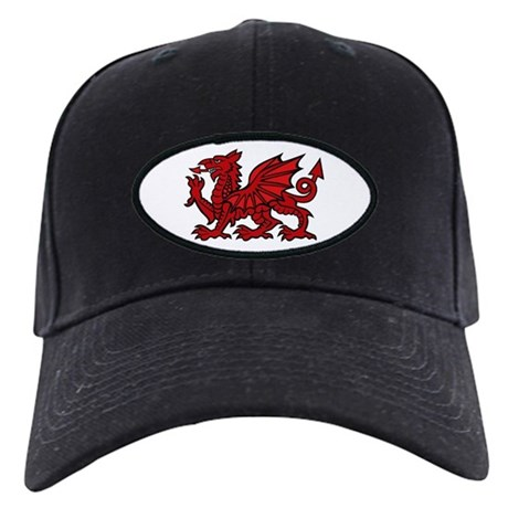 Red Welsh Dragon Black Cap