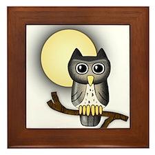 Full Moon Owl Framed Tile