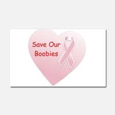 Save Our Boobies Red Car Magnet 20 x 12