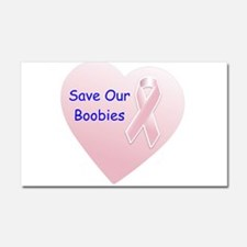 Save Our Boobies Blue Car Magnet 20 x 12