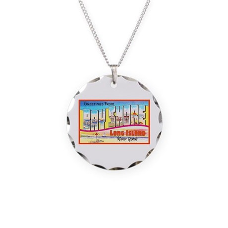 Bay Shore Long Island Necklace Circle Charm