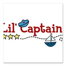 "Lil Captain Square Car Magnet 3"" x 3"""