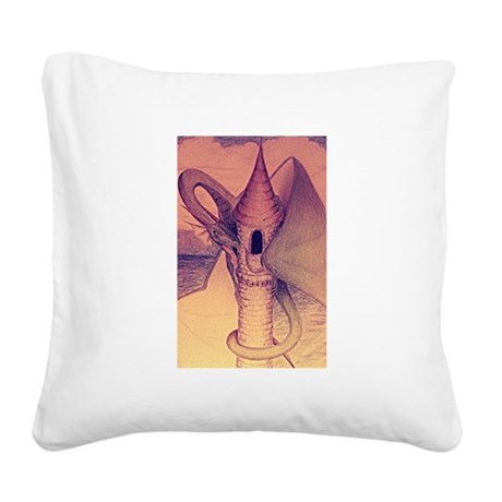 Dragon Perch Square Canvas Pillow