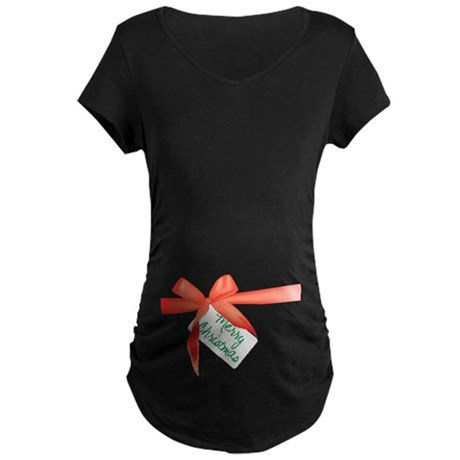 Christmas bow Maternity Dark T-Shirt