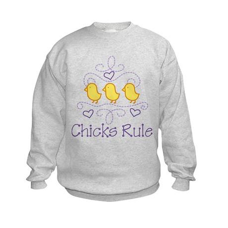Chicks Rule Kids Sweatshirt