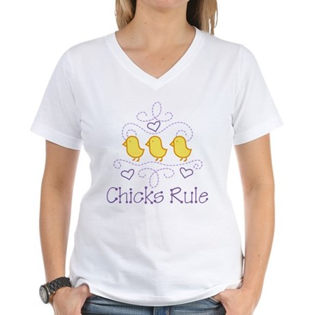 Chicks Rule Women's V-Neck T-Shirt