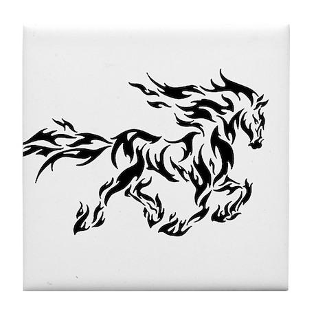Tribal flame horse Tile Coaster
