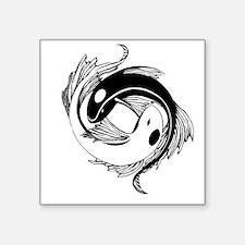 "Tribal Yin Yang Fish Square Sticker 3"" x 3"""