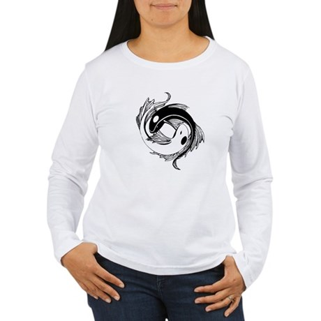 Tribal Yin Yang Fish Women's Long Sleeve T-Shirt