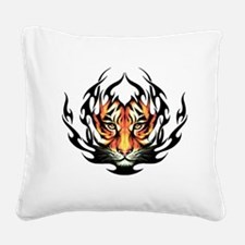 Tribal Flame Tiger Square Canvas Pillow