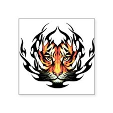 "Tribal Flame Tiger Square Sticker 3"" x 3"""