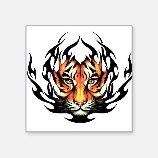 "Tribal Flame Tiger Square Sticker 3"" x 3"""