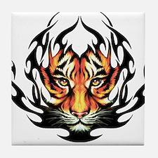 Tribal Flame Tiger Tile Coaster
