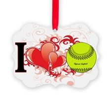 l love Softball.png Ornament