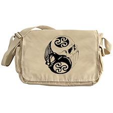 Tribal Skulls Yin Yang Messenger Bag