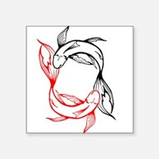 "Tribal Yin Yang Koi Pisces Square Sticker 3"" x 3"""