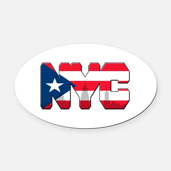 New York Puerto Rican Oval Car Magnet