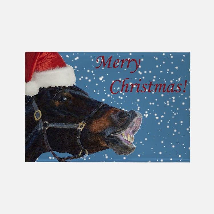 Fun Christmas Horse Rectangle Magnet