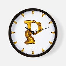 Blown Gold P Wall Clock