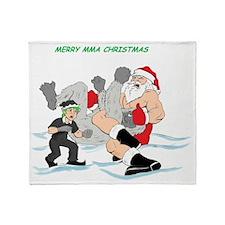 MMA Santa Vs Snowmonster Throw Blanket