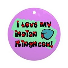 Anime Blue Indian Ringneck Ornament (Round)