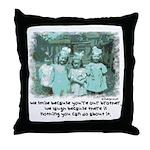 Little Girl and Firetruck Throw Pillow