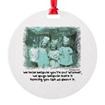 Little Girl and Firetruck Round Ornament