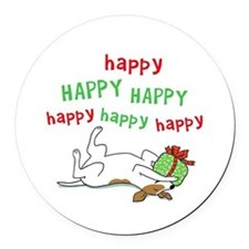 Happy Holiday Jack Russell Round Car Magnet