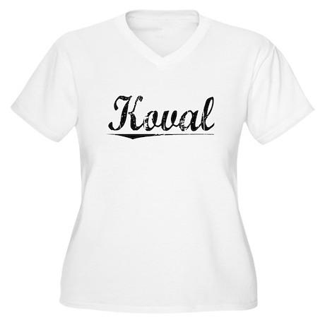 Koval, Vintage Women's Plus Size V-Neck T-Shirt