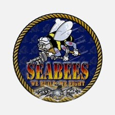 US Navy Seabees Lava Glow Ornament (Round)
