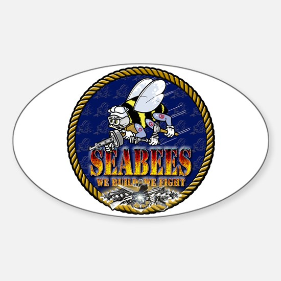 US Navy Seabees Lava Glow Sticker (Oval)
