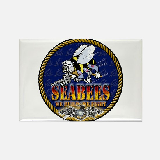 US Navy Seabees Lava Glow Rectangle Magnet