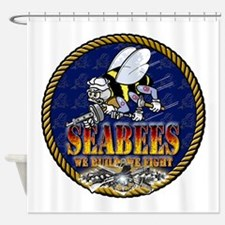 US Navy Seabees Lava Glow Shower Curtain